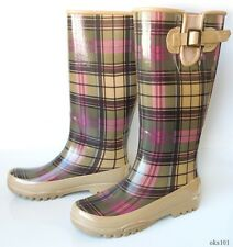new SPERRY Top-Sider 'Pelican' beige/brown plaid fleece-lined SNOW RAIN BOOTS