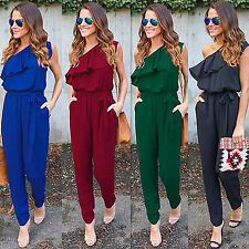 Women One Shoulder Clubwear Chiffon Trousers Bodycon Jumpsuit Romper Long Pants