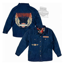 Harley-Davidson Boys Youth Winged B&S Quilted Denim Long Sleeve Shirt Jacket
