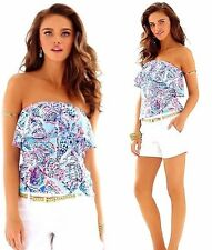 NWT Lilly Pulitzer Wiley Shell Me About It Ruffle Slubby Jersey Tube Top M