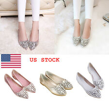 US Women Ladies Rhinestones Glitter Pointed Shallow Flats Loafers Pumps Shoes