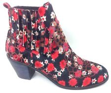 NEW $99 I love Billy Red Black Nexis Ankle Boots low Heel Booties Womens size