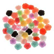 100 Pcs Rose Flower Resin Flatback Cabochon Scrapbook Decoration 15mm