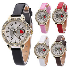 Girl Heart Dial Fine Faux Leather Band Rhinestone Quartz Wrist Watch Fashion