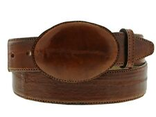 Mens Cognac Brown Real EEL Skin Leather Cowboy Western Belt Exotic Round Smooth
