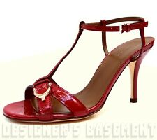 GUCCI red Micro GUCCISSIMA Leather NICE SPUR buckle T-strap sandals NIB Authentc