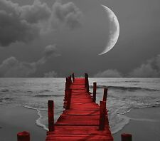 Black White Red Beach Pier Home Decor Wall Art Matted Picture