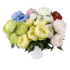 Vintage Artificial Peony 5 Heads Foral Wedding Silk Fake Flower Bouquet 7 Color