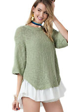 EASEL Sage Green Slouchy 3/4 Sleeve Knit Pull Over Ruffle Bow Blouse Top S M L