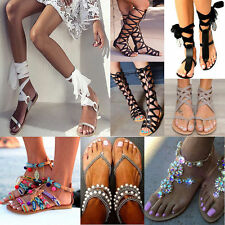 LADIES WOMENS CUT OUT GLADIATOR SANDALS FLAT KNEE BOOTS STRAPPY BUCKLES SIZE