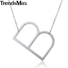 Womens Chain Ladies Stainless Steel Silver Initial Letter A-Z Pendant Necklace