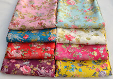 BY 2 YARDs CHINESE SILK DAMASK JACQUARD BROCADE FABRIC: FANTASY PHOENIX FLOWER -