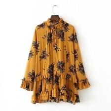 New Womens Floral Print Bow Tie Ruffled Long Sleeve Plus Size Loose Mini Dress
