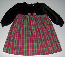 EUC Petit Ami black velvet plaid girls holiday Christmas dress sz 24m
