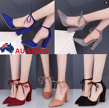 Women Lace Up High Heels Chunky Shoes Pointed Toe Sandals Strappy Ankle Shoes
