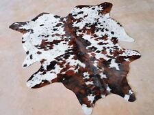 White Tricolor Cow Print Cowhide Rug Hair on Hide Skin Leather Cow Hide Area Rug