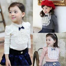 New! Fashion Toddler Kids Baby Girls Long Sleeve Lace Bowknot Lace T-shirt Tops