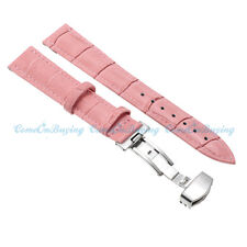 12-24mm Pink Genuine Leather Alligator Crocodile Grain Watch Strap Band Buckle