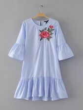 New Womens Ladies Blue/White Trumpet Short Sleeves Floral Embroidered Mini Dress