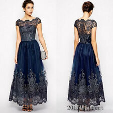 Lace Applique Cap Sleeve Mother Of The Bride Dress Formal Ankle Length Navy Blue