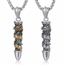 Bullet Pendant Necklace Mens Chain 316L Stainless Steel Dragon Gold Silver