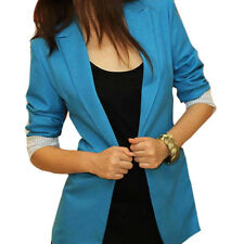 Stylish Women's Candy Color Foldable Sleeve Slim Casual One Button Blazer