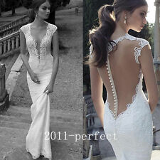 Mermaid Lace Beaded Wedding Dress Pearl Cap Sleeve V Neck Sheer Back Bridal Gown