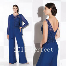 Royal Blue Mother Of The Bride Pant Suits With Jacket Plus Size Chiffon Beaded