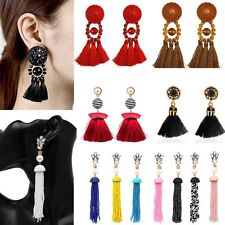 Charm Women Boho Crystal Dangle Stud Earrings Long Tassel Beads Fringe Jewellery