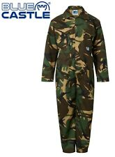 Children's Kids Boys Girls Play Boiler Suit Overall Coverall - Camouflage - Army