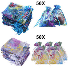 50Pcs/Set Sheer Coralline Organza Jewelry Pouch Wedding Party Favor Gift Bags