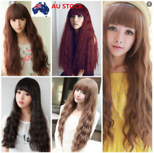 70cm Linen Full Cosplay Party Wig Long Curly Wavy Costume Straight Bang Wigs