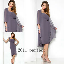 Mother of the Bride Dress Suit Formal Gown Long Sleeve Jacket Sheath Knee Length
