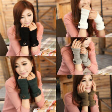 Fashion Womens Button Arm Warmer Long Fingerless Knit Mitten Winter Gloves 73