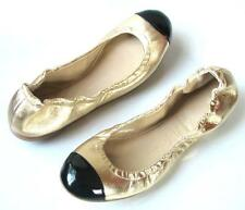 new $590 Giuseppe ZANOTTI gold leather black cap toe flats shoes 36 6