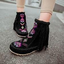 New Ethnic Womens Boho Tassle Hidden Wedge Moccasin Ankle Boots Embroidery Shoes