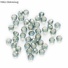 50 Piece Plating Green Crystal Glass Faceted Beads DIY Jewelry Findings 4-8mm