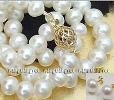"Long 16"" - 48"" 8-9mm Natural White Akoya Cultured Pearl Earrings Necklace Set"
