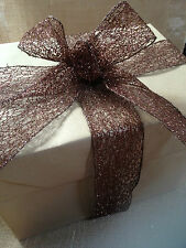 GLITZY CHOCOLATE Bronze Sequin Mesh Web 38mm & 63mm - Luxury Wire Edged Ribbon