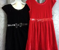 Girls red or black sequin bow Velour dress empire waist siz xs S M L XL George