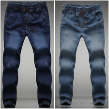 New Korean Stylish Men Mid Rise Feet Stretch Jeans Trousers Casual Sweat Pants
