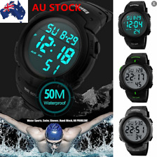 AU Mens Sports Watches 50m Waterproof Digital LED Military Casual Wristwatches