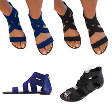 Women Back Zipper Bandage Sandals Flats Ankle Strap Slingbacks  Gladiator Shoes