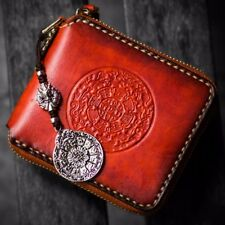 Handmade Mens Clutch Chain Wallet Genuine Vegetable Tanned Leather Handbag Purse