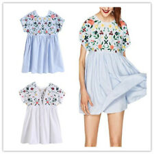 Women Embroidery Floral Jumpsuit Romper Dress Casual Pleated Safty Short Dress