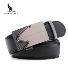 Man Fashion Genuine Leather Belt Automatic Buckle Waist Strap for Jean