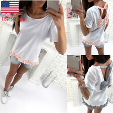 US SHIP Women Lace up Patchwork Backless Bow-knot Rhinestones Top Blouse T-Shirt