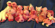 W-F-L TY Beanie Pinkys Selection Horse Monkey Mouse Dog pink