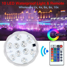 10 LED RGB Waterproof Submersible Lights Wedding Party Vase Lamp + Remote US LOT