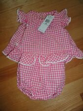 Polo Ralph Lauren Baby Girls Adorable Pink Check Ruffled Romper 3M 6M 9M NWT